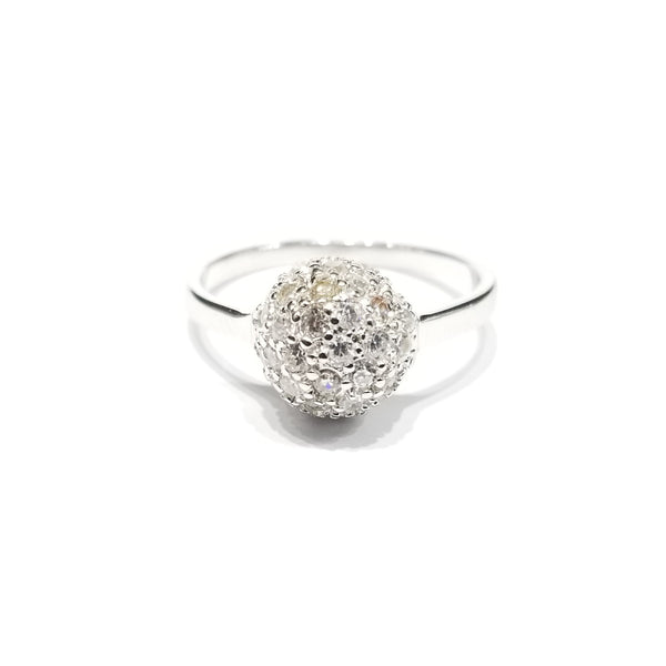 Round Ball CZ Ring (Sterling Silver)
