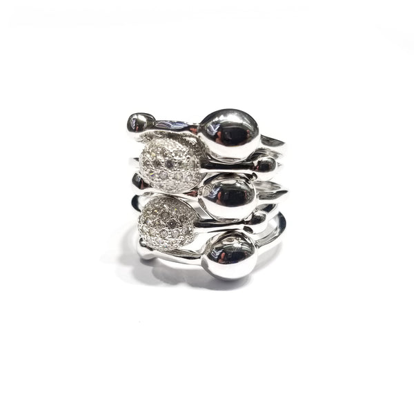 Beautiful Orbit Stones CZ Ring (Sterling Silver)