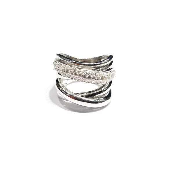 Quad-Bands Solid & Crystalized CZ Ring (Sterling Silver)