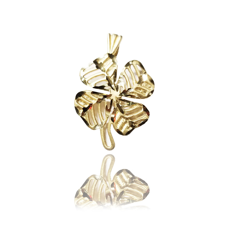 Lucky Four Leaf Clover Yellow Gold Pendant (14K)