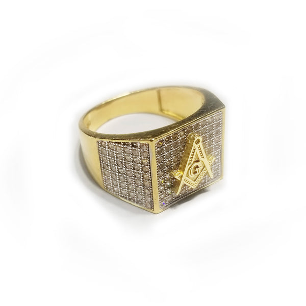 Iced-Out Square Signet Masonic Ring (14K)