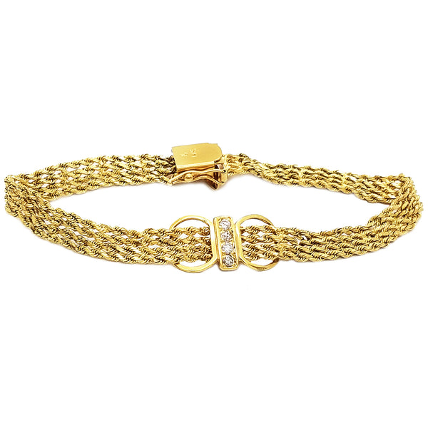 4 Row Rope Braided CZ Bracelet (14K)
