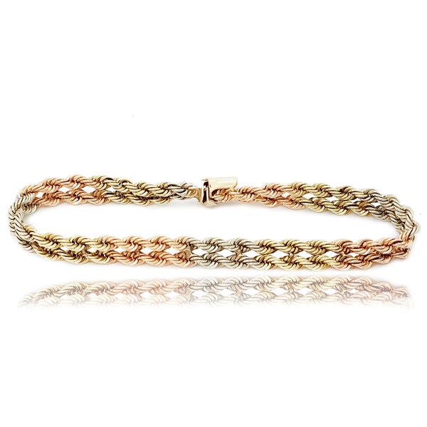 Dual Rope Tri-Color Gold Bracelet (14K)