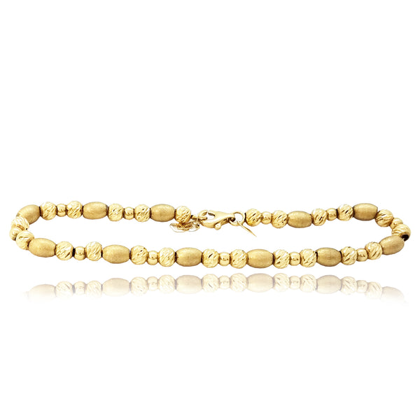 Beads Tri-Color Gold Bracelet (14K)