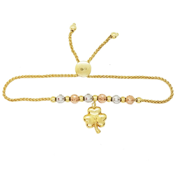 Three-Leaf Clover Adjustable Tri-Color Gold Bracelet (14K)
