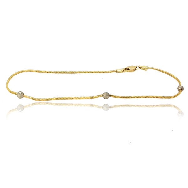 Rope & Diamond Cut Balls Two-Toned Gold Bracelet (14K)