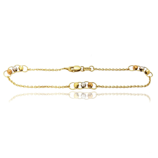 Diamond Cut Beads Cable Bracelet (14K)