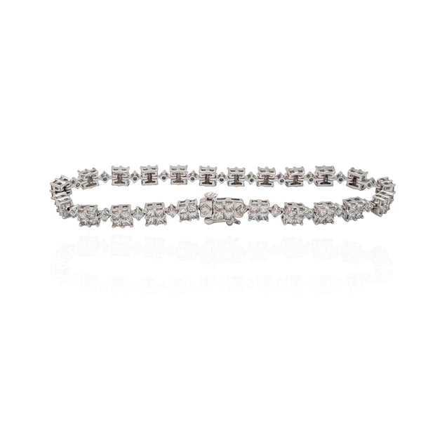 Square Diamond Tennis Bracelet (14K).