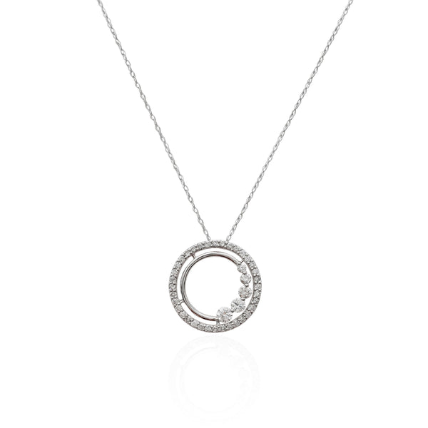 Diamond Circle Pendant (14K).