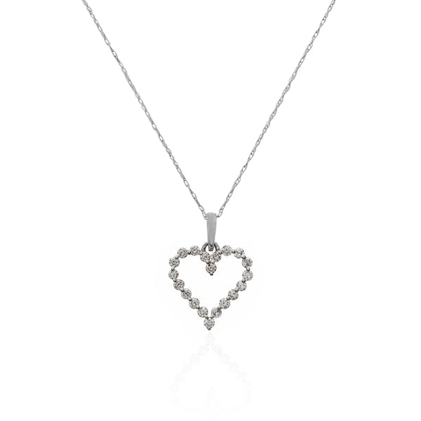 Diamond Heart Pendant Necklace (14K).