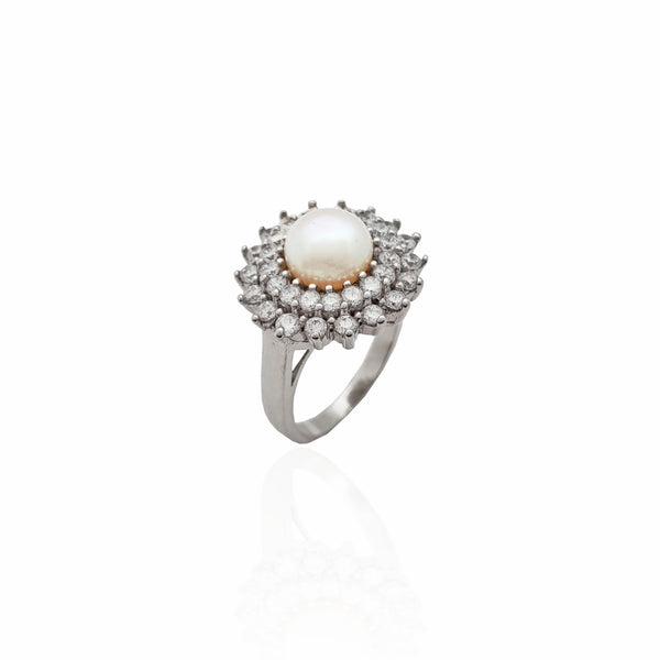 Pearl Gemflower Halo Ring (Silver)
