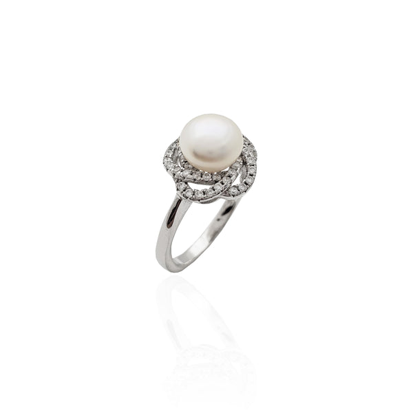 Spiral Halo Pearl Ring (Silver)