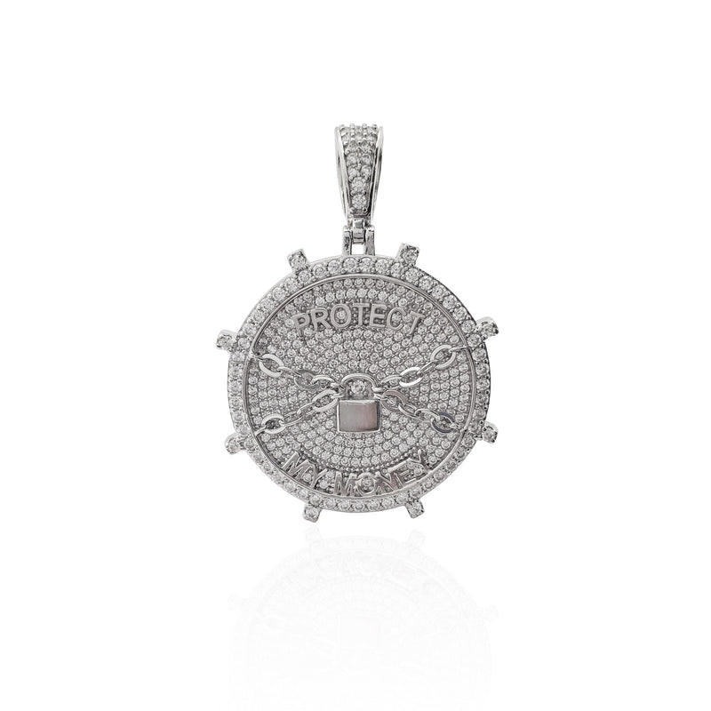 """Protect My Money"" Bank Vault Pendant (Silver)"