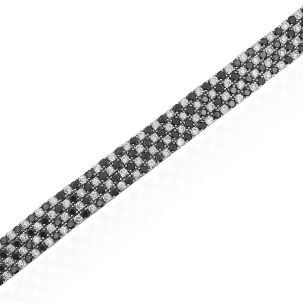 Black & White Checkered Tennis Bracelet (Silver)