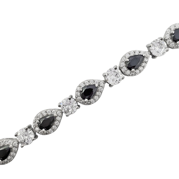 Black Stone Teardrop Halo Fancy Bracelet (Silver)