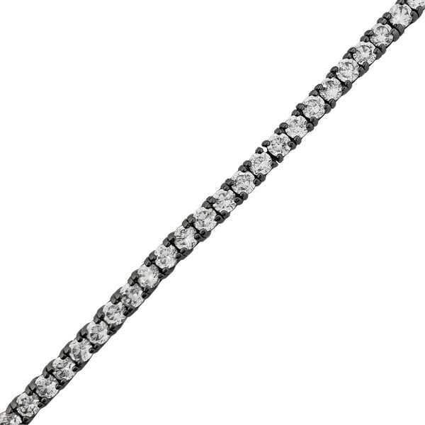 Black Metal Tennis Bracelet (Silver)