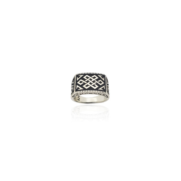 Celtic Antique-Finish Rectangular Ring (Silver) Popular Jewelry New York