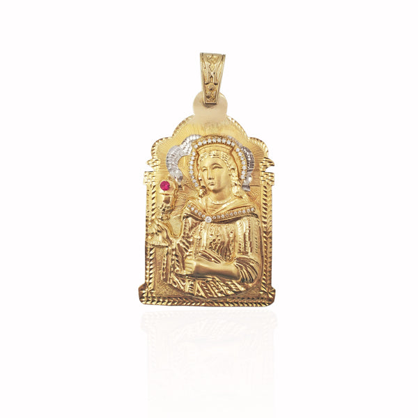 Two-Tone Saint Barbara CZ Pendant (14K).