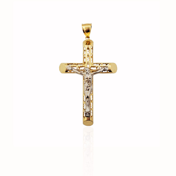 Patterned Tube Crucifix Pendant 14K - Lucky Diamond 恆福珠寶金行 New York City 169 Canal Street 10013 Jewelry store Playboi Charlie Chinatown @luckydiamondny 2124311180