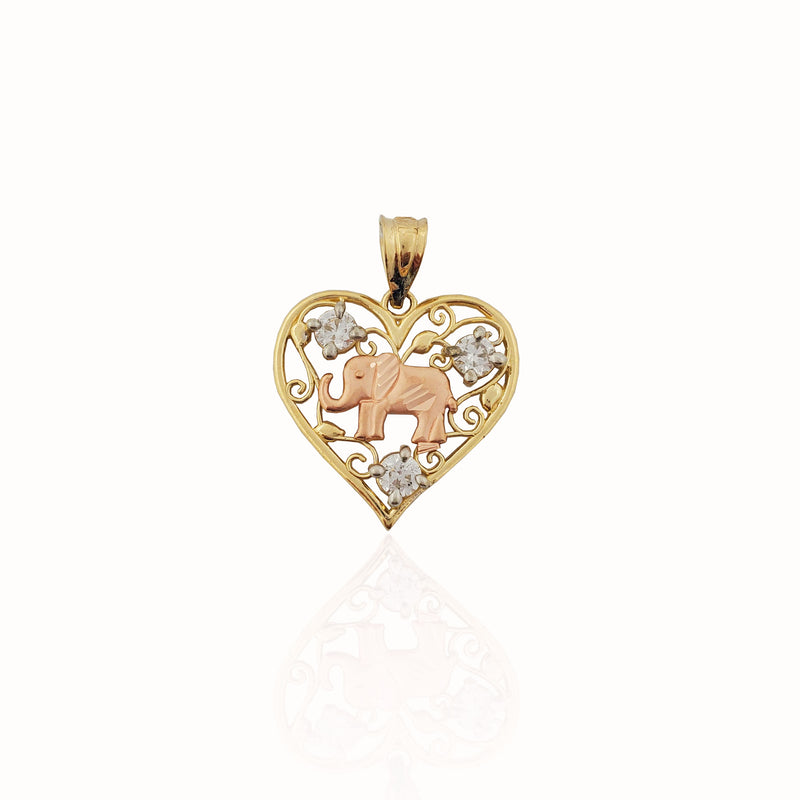 Two-tone Elephant Heart CZ Pendant (14K).