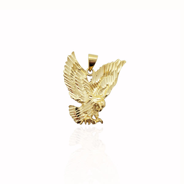 Diamond-Cut Swooping Eagle Pendant (14K)