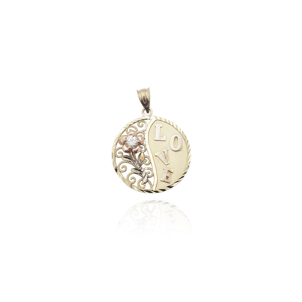 Rose Love Round CZ Pendant (14K) Popular Jewelry New York
