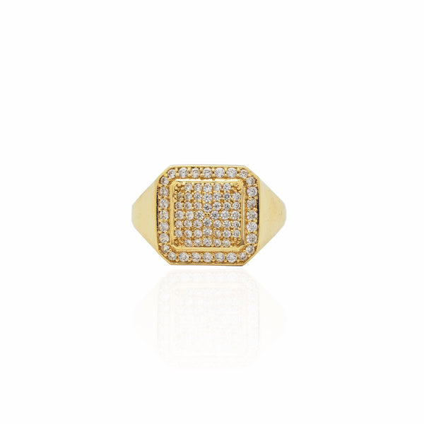 Iced-Out Rounded Square Signet Ring (14K)
