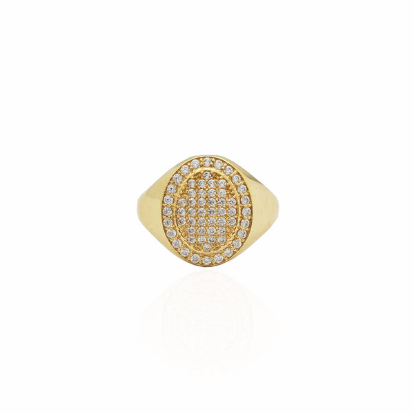 Iced-Out Oval Signet Ring (14K)