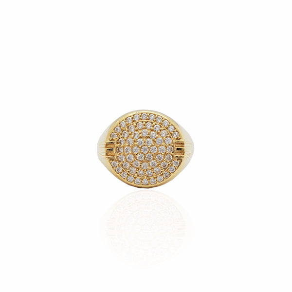 Iced-Out Circular Signet Ring (14K)