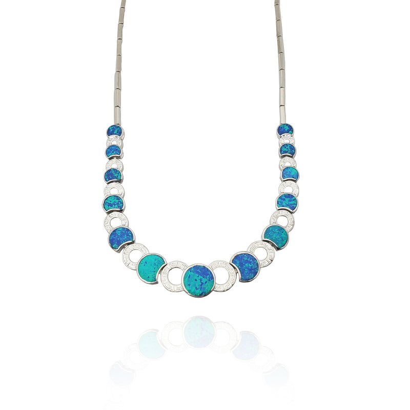 Blue Oval Opal Necklace (Silver)