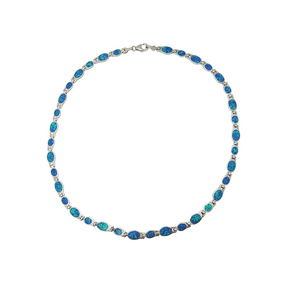 Blue Oval Opal Necklace (Argento)