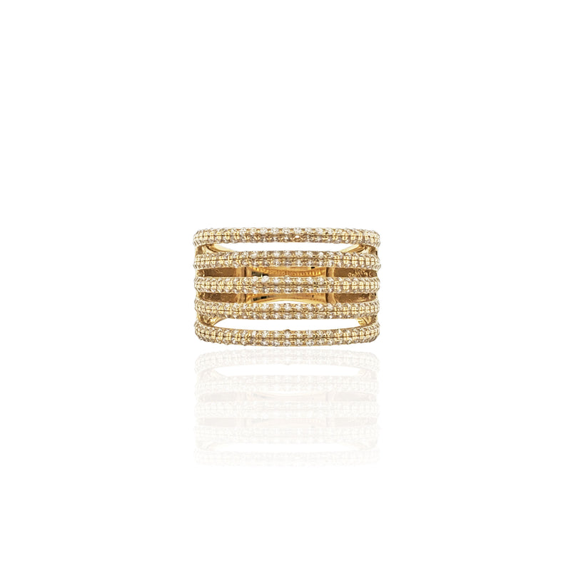 Stoneset Quintuple Line Cocktail Ring (14K)
