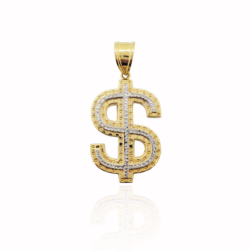 Two-Tone Diamond-Cut Dollar Sign Pendant (14K)