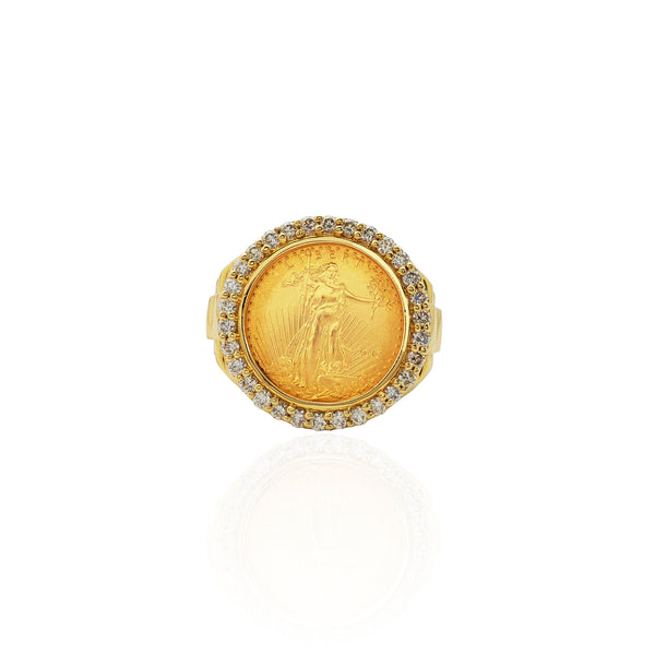 Five-Dollar Coin Diamond Frame Ring (14K)