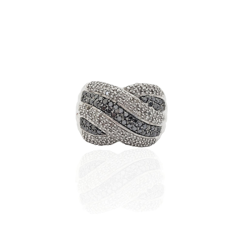 Black & White Puffy Stripes Diamond Ring (10K)