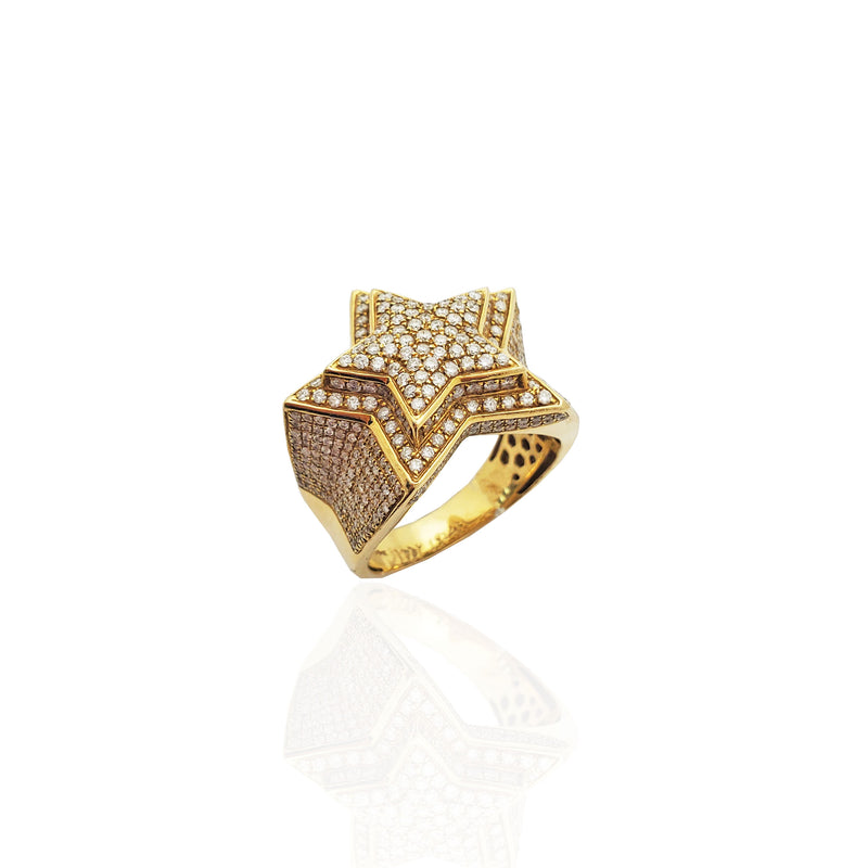 Iced-Out Emerging Star Diamond Ring 14K Yellow Gold