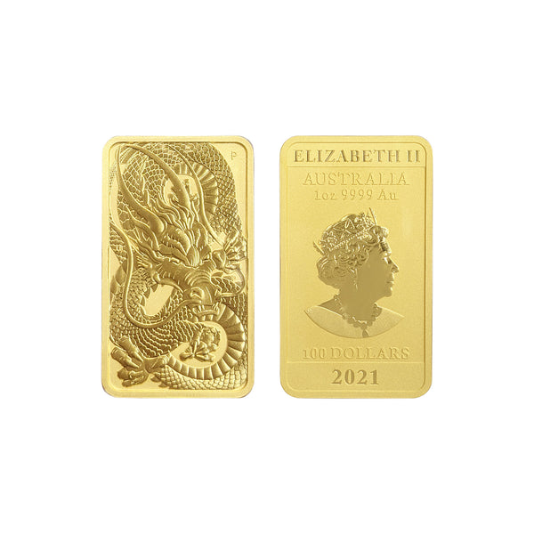2021 1oz Gold Australian Dragon Coin Bar AUD$100 - main - Popular Jewelry - New  York