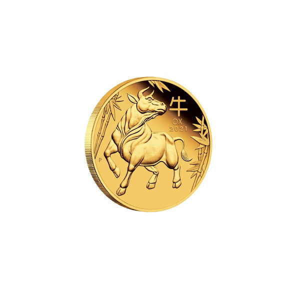 2021 1 oz Fine Gold Lunar Year of The Ox (牛) Gold Coin 24K