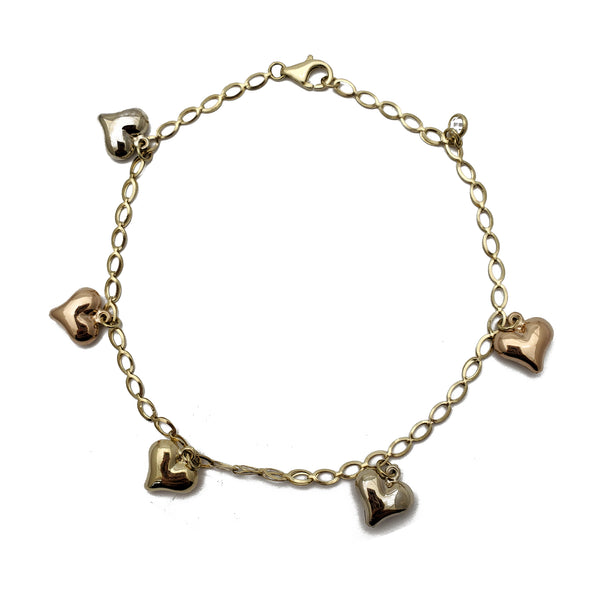 Tricolor Puffy Heart Anklet (14K)