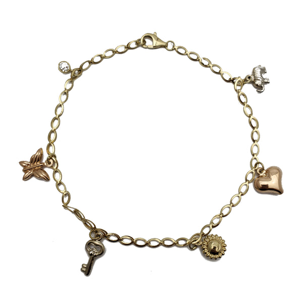 Tricolor Charms Anklet (14K)