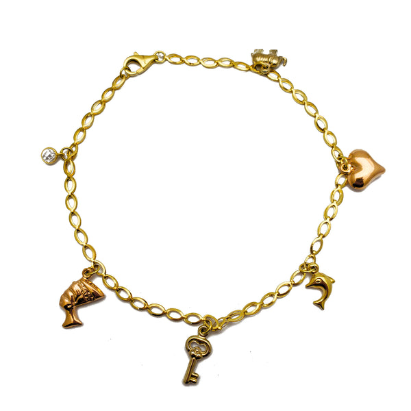 Two-Tone Charms Anklet (14K)
