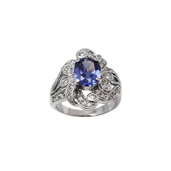 Blue Flower Zirconia Lady Ring (Silver)