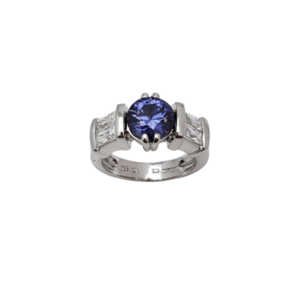 Blue Round & Baguette Bezel Zirconia Lady Ring (Silver)