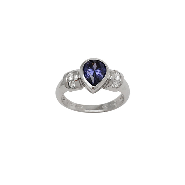Blue Pear-Shaped Bezel Zirconia Lady Ring (Silver)