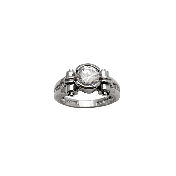 Bezel Zirconia Lady Ring (Silver)