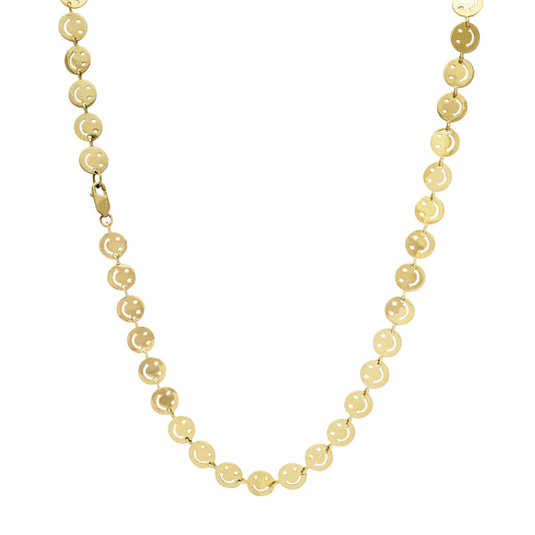Smiley Face Emoji Necklace (14K)