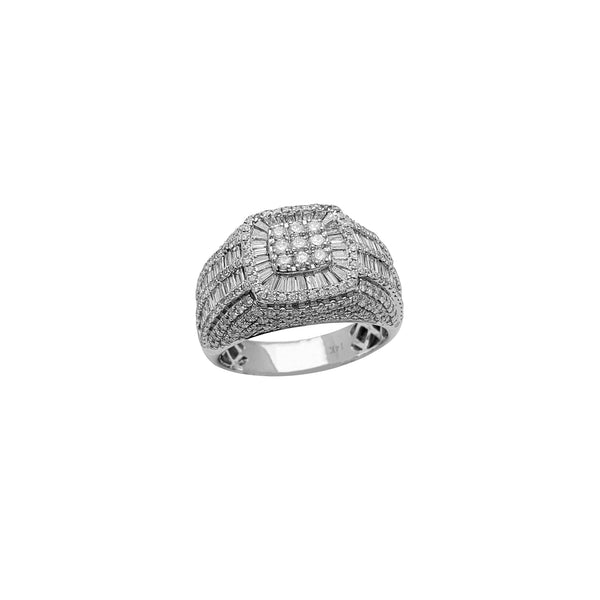 Diamond Baguettes & Round Signet Ring (14K)