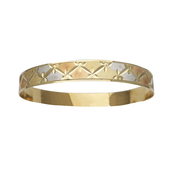 Tricolor Diamond Cuts Bangle Bracelet (14K)