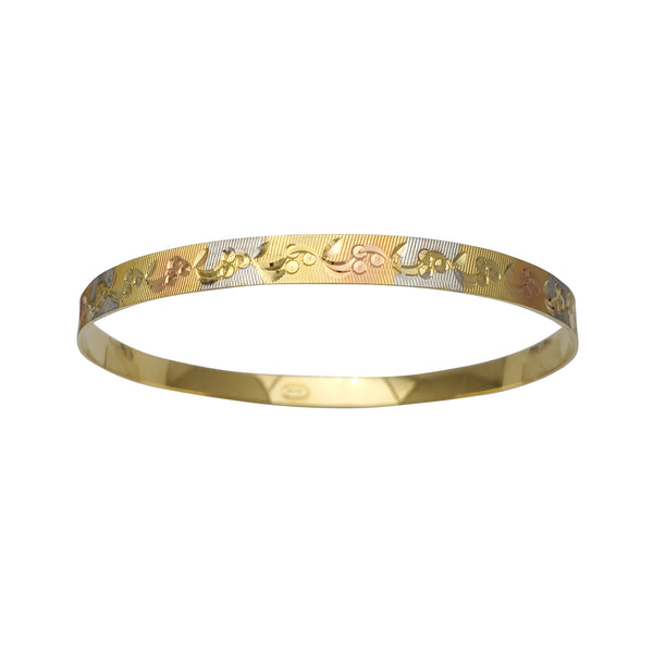 Tricolor Floral Diamond Cuts Bangle Bracelet (14K)
