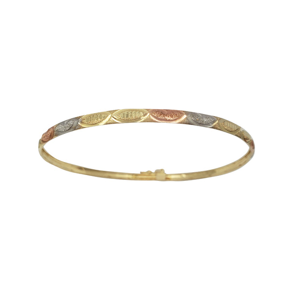 Tricolor Hearts Diamond Cuts Bangle Bracelet (14K)